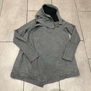 Lululemon Asana Sweater Cowl Neck Grey Wrap Button